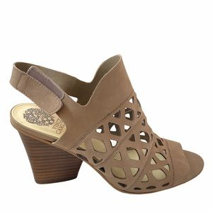 VINCE CAMUTO DEVERLY Tan Leather Heel Sandal 9.5